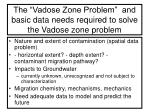 the vadose zone problem and basic data needs required to solve the vadose zone problem