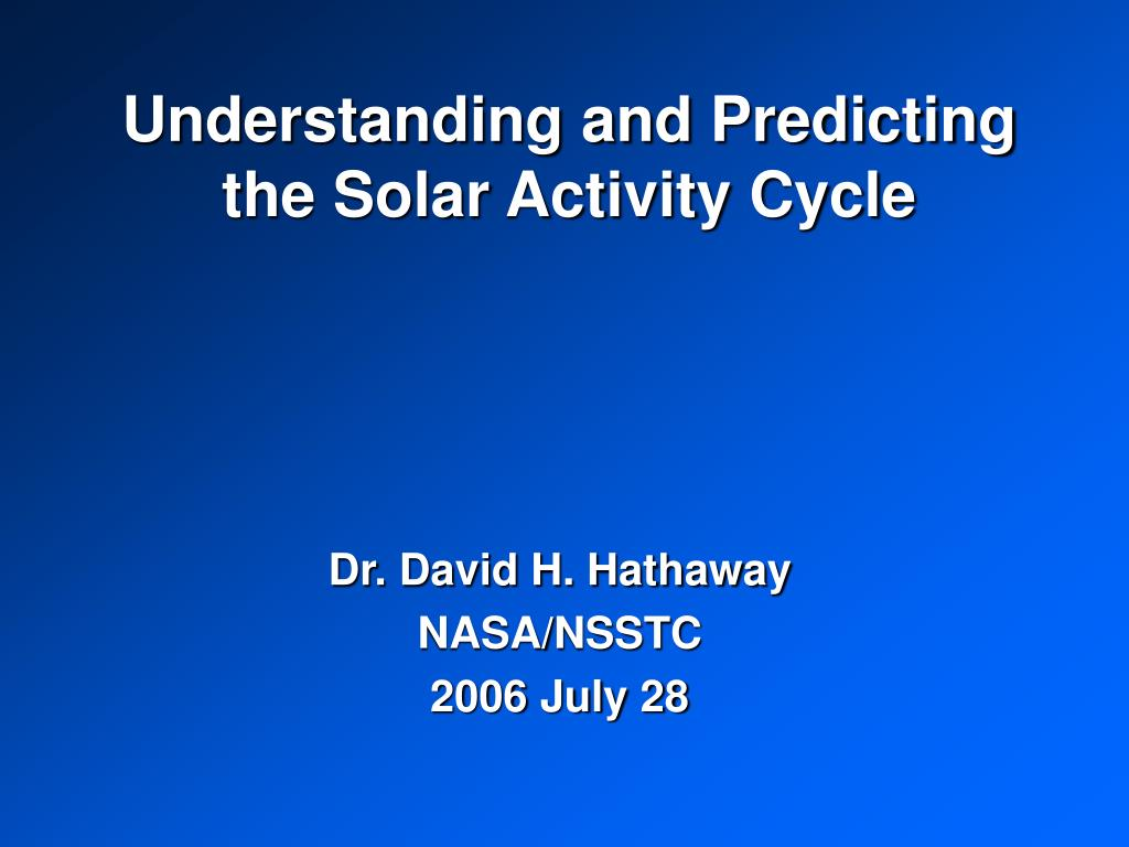 understanding and predicting the solar activity cycle l.