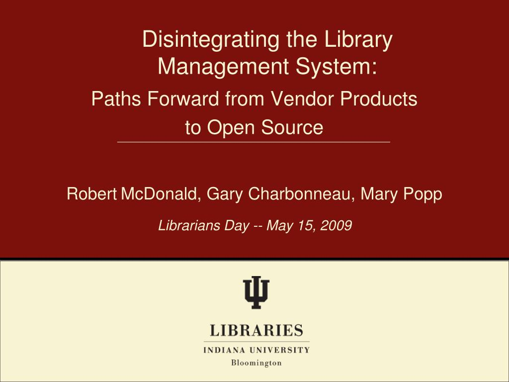 disintegrating the library management system l.