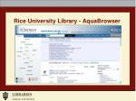 rice university library aquabrowser