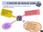 l activit de lecture orale48