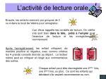 l activit de lecture orale49
