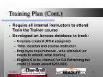 training plan cont