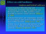 effect on cold hardiness vinifera and hybrid cultivars