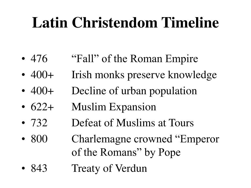 latin christendom timeline l.