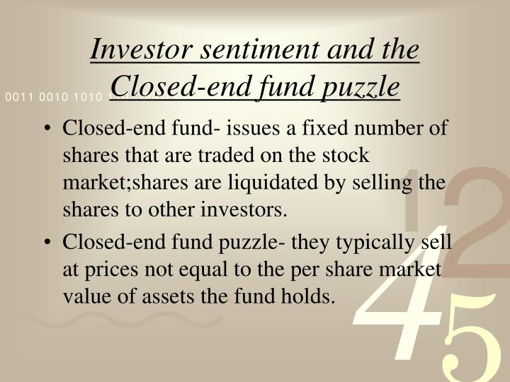 investor sentiment and the closed end fund puzzle n.