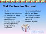 risk factors for burnout