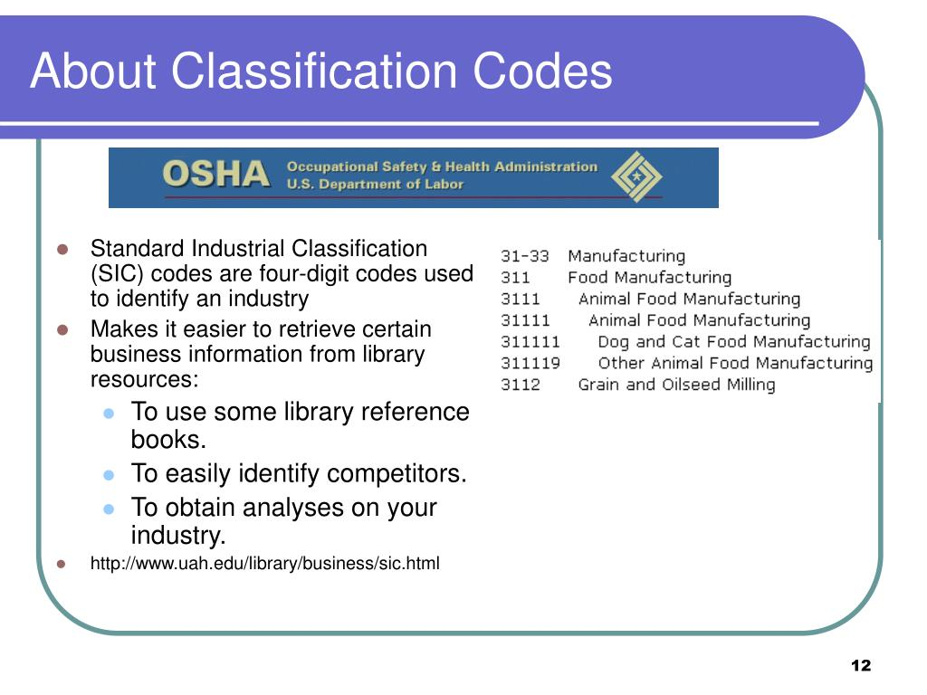 About Classification Codes