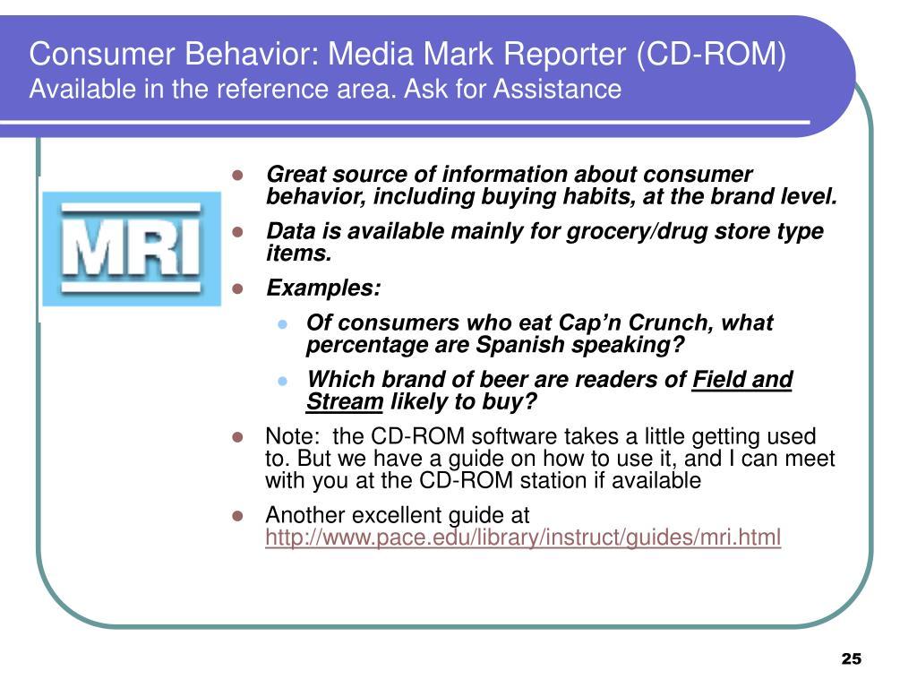 Consumer Behavior: Media Mark Reporter (CD-ROM)