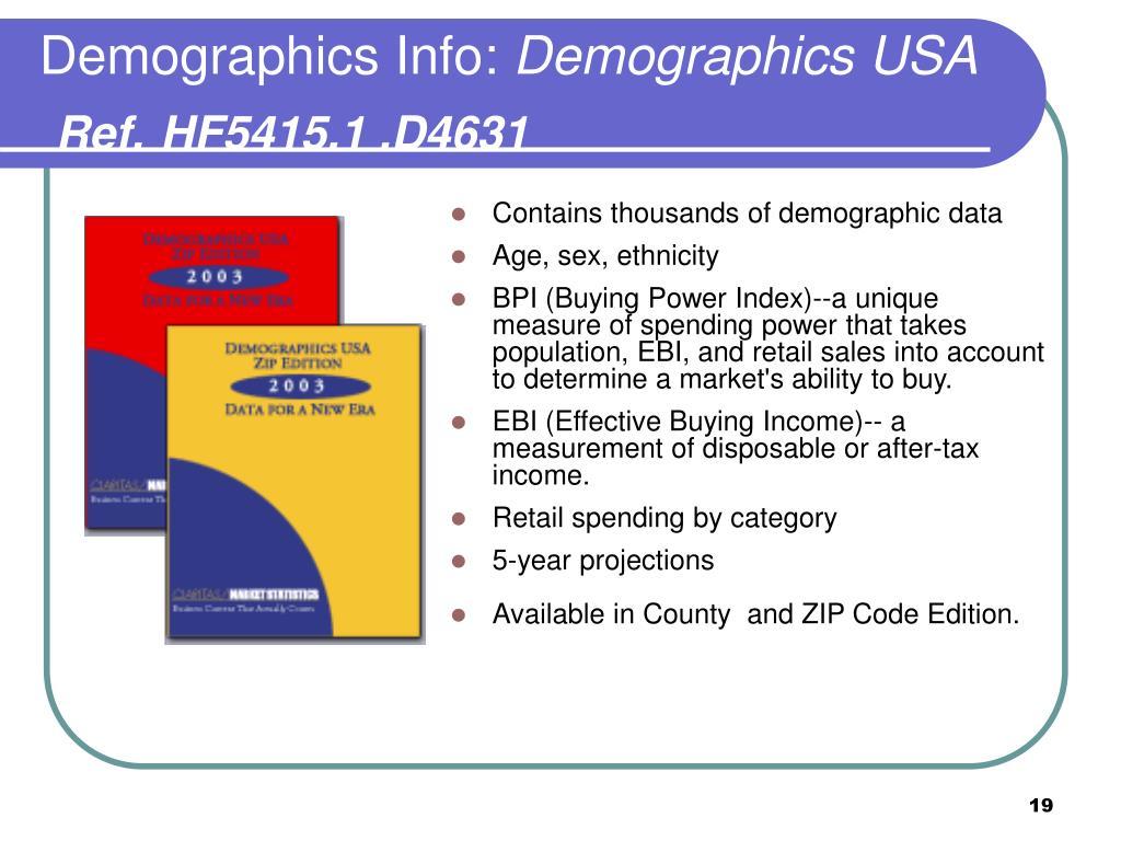 Demographics Info: