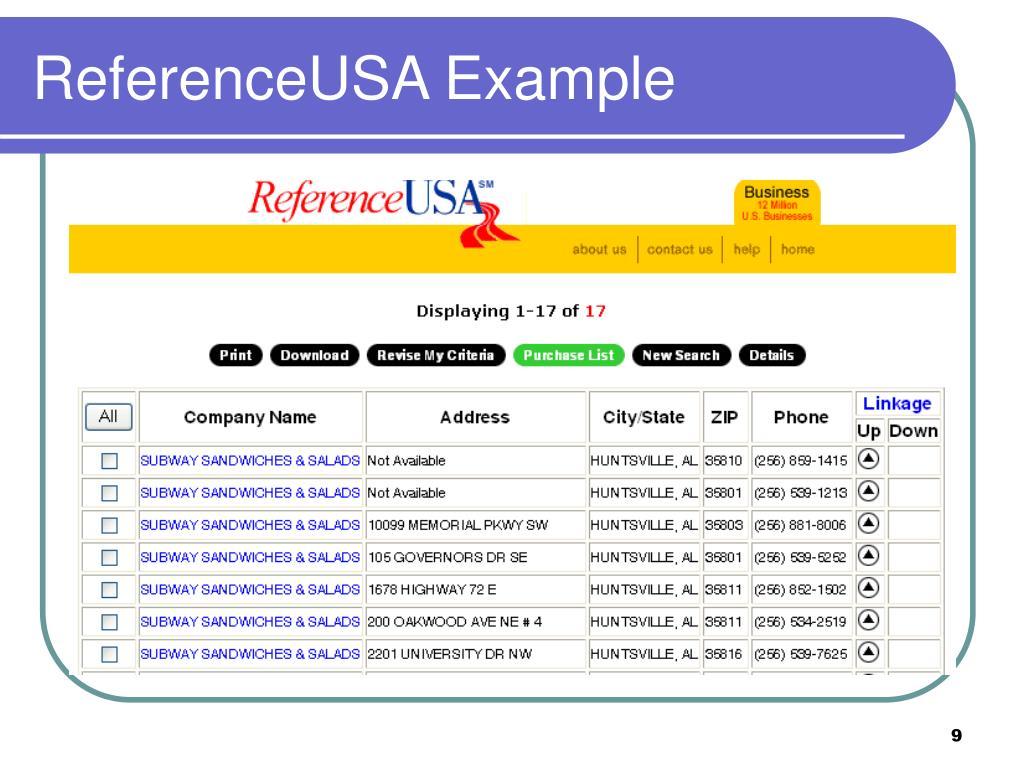 ReferenceUSA Example