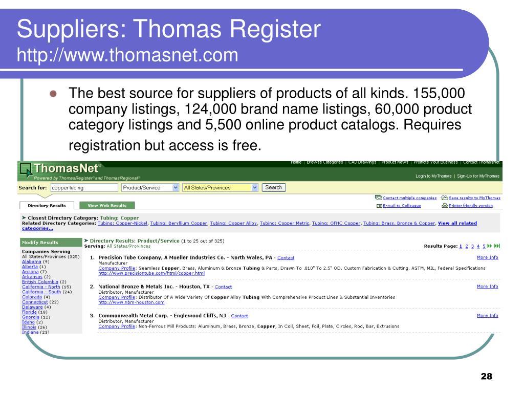 Suppliers: Thomas Register