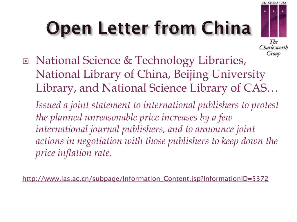 Open Letter from China