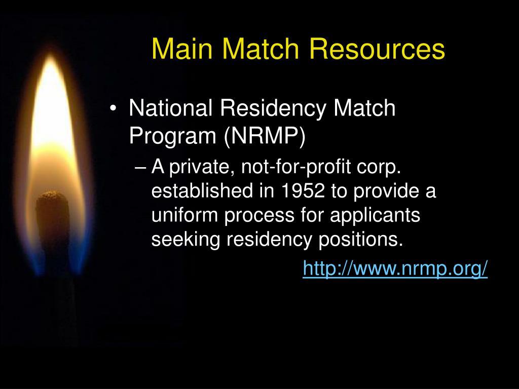Main Match Resources