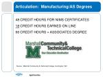 articulation manufacturing as degrees