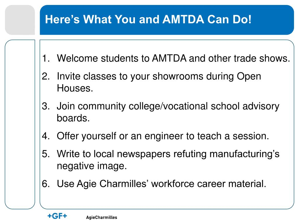 Here's What You and AMTDA Can Do!