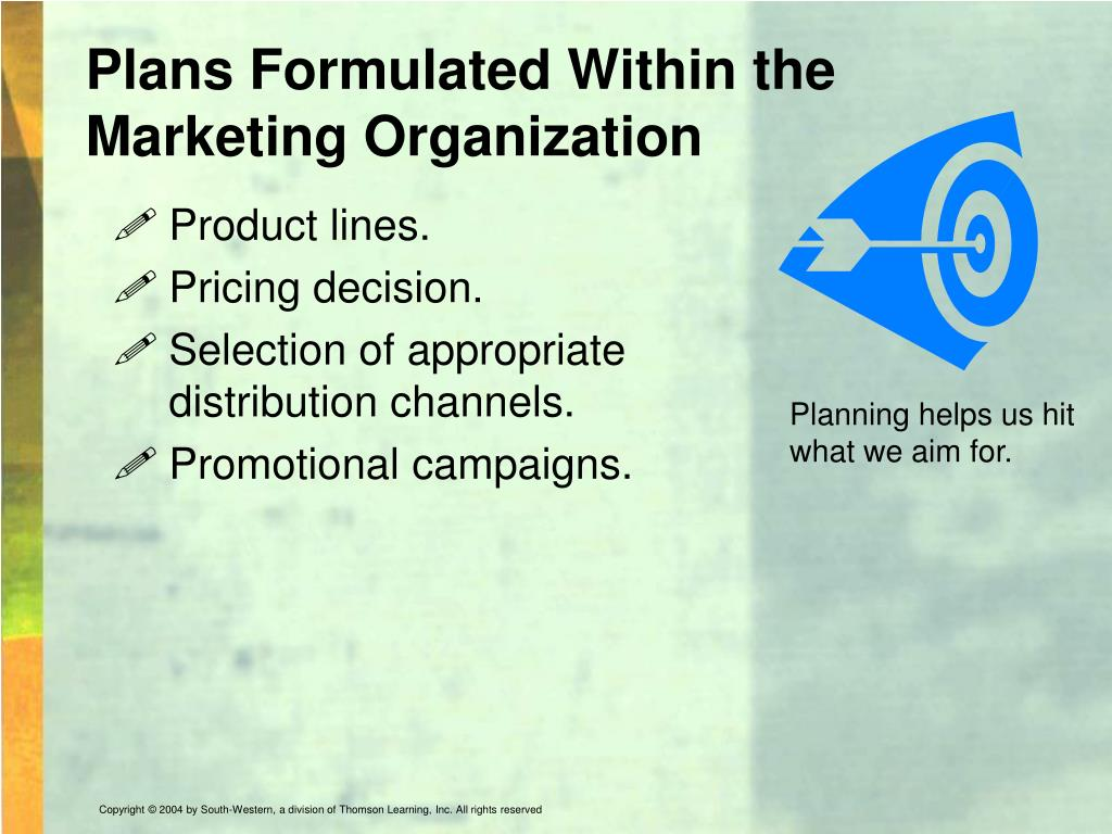 Plans Formulated Within the Marketing Organization