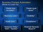 business process automation words to listen for