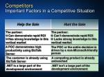 competitors important factors in a competitive situation