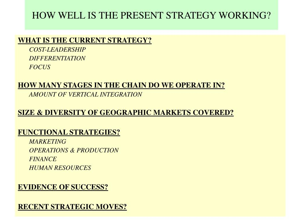 HOW WELL IS THE PRESENT STRATEGY WORKING?
