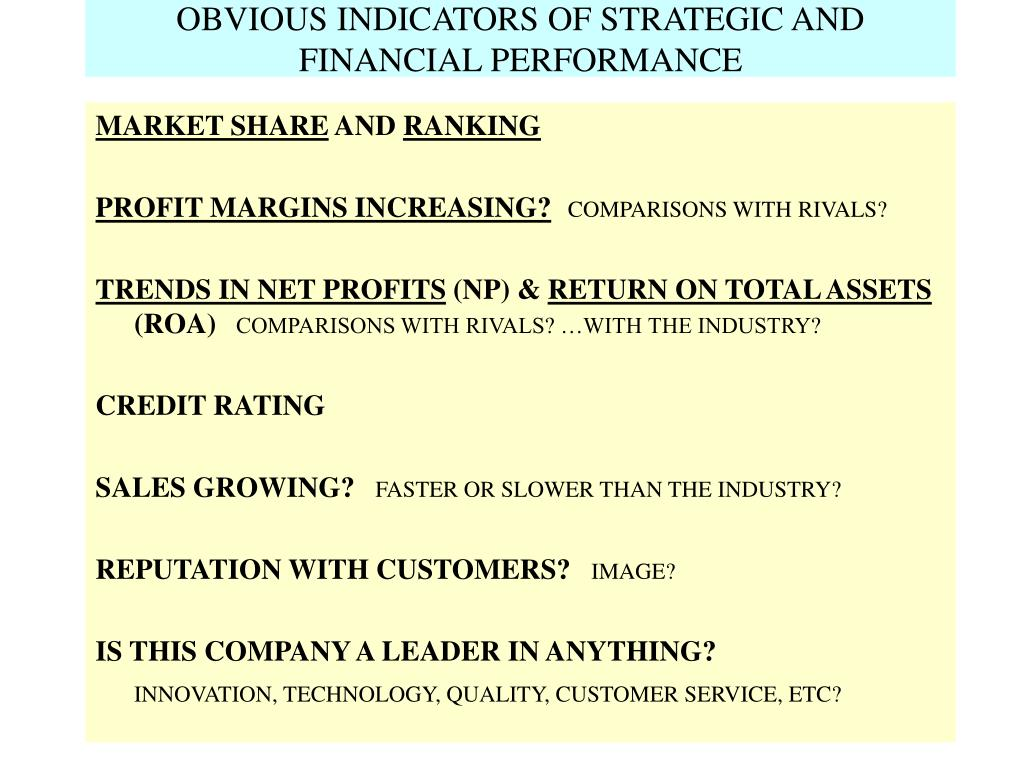 OBVIOUS INDICATORS OF STRATEGIC AND FINANCIAL PERFORMANCE
