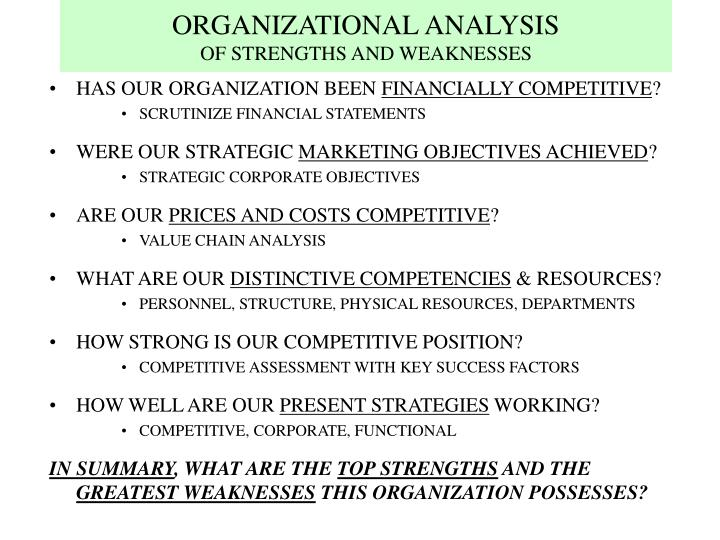 Organizational analysis of strengths and weaknesses