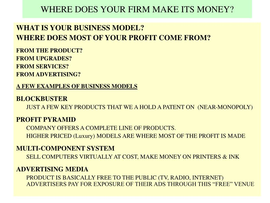 WHERE DOES YOUR FIRM MAKE ITS MONEY?