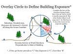 overlay circle to define building exposure