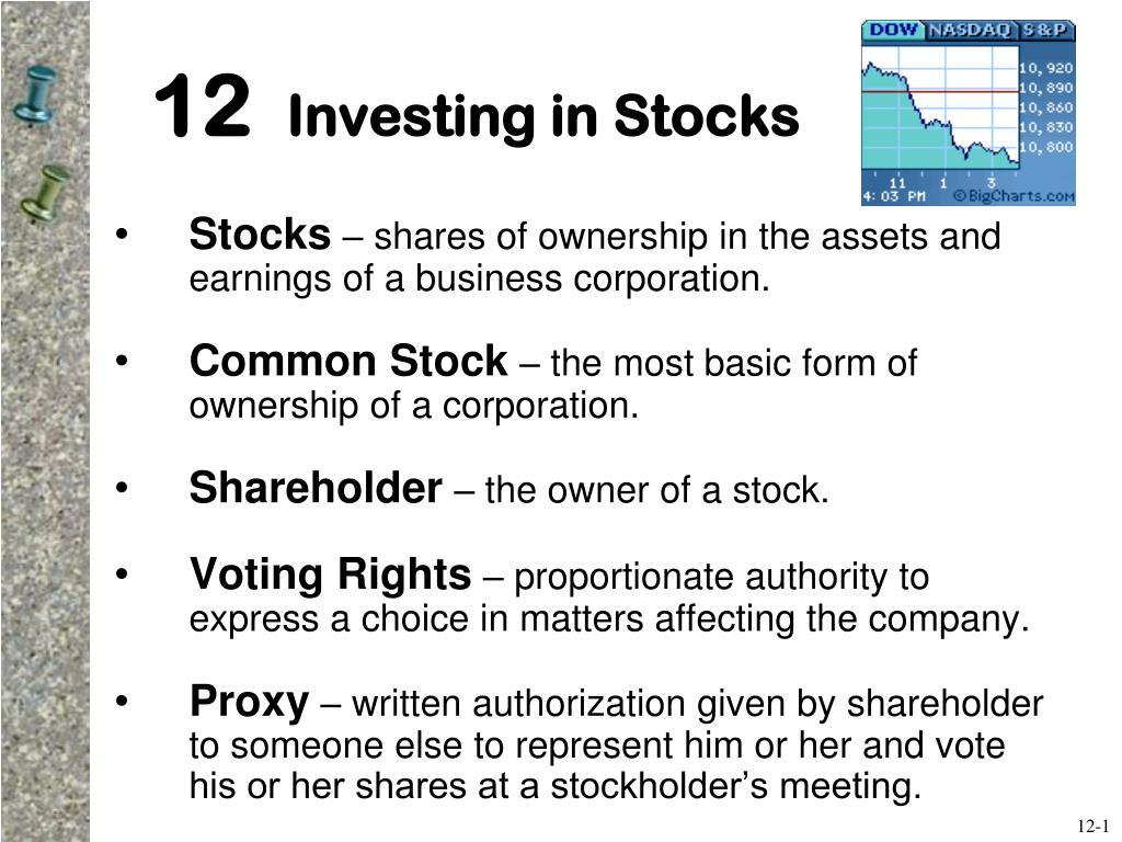 12 investing in stocks l.