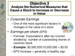 objective 3 analyze the numerical measures that cause a stock to increase or decrease in value