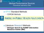 method performance sources theoretical laboratory data9
