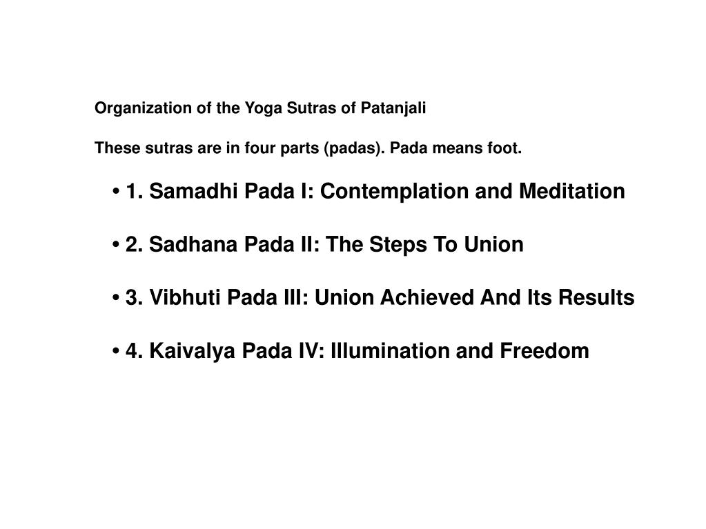 Organization of the Yoga Sutras of Patanjali