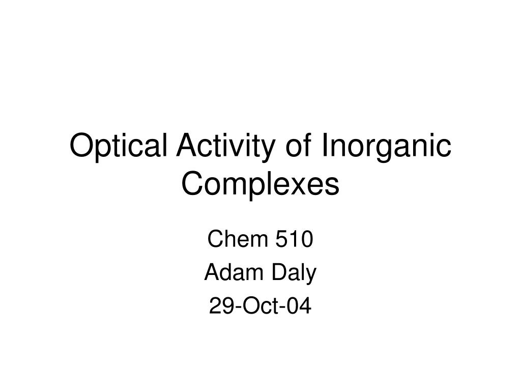 optical activity of inorganic complexes l.