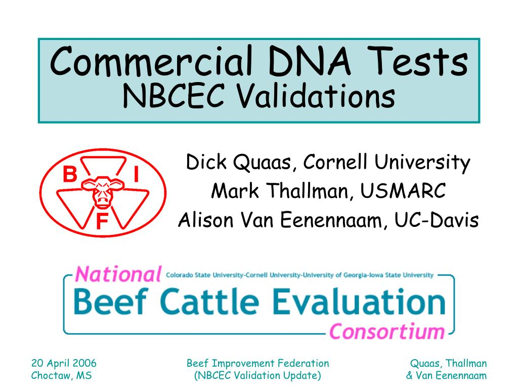 commercial dna tests nbcec validations l.