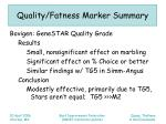 quality fatness marker summary