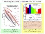 validating radiation transport codes and models