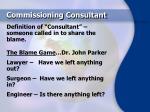 commissioning consultant