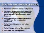 role of the commissioning authority