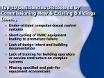 top 10 deficiencies discovered by commissioning new existing buildings cont