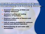 top 10 deficiencies discovered by commissioning new existing buildings