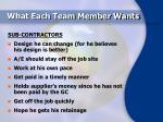 what each team member wants12