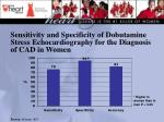 sensitivity and specificity of dobutamine stress echocardiography for the diagnosis of cad in women