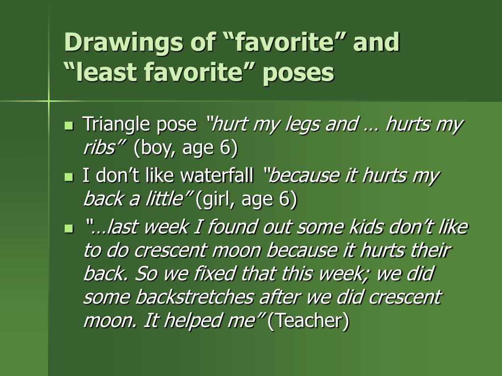 """Drawings of """"favorite"""" and """"least favorite"""" poses"""