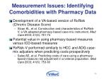 measurement issues identifying comorbidities with pharmacy data
