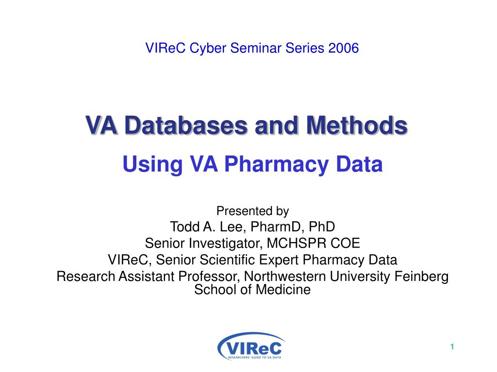virec cyber seminar series 2006 va databases and methods l.