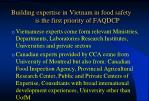 building expertise in vietnam in food safety is the first priority of faqdcp30