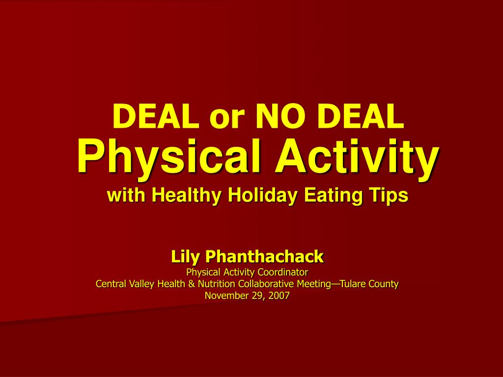 physical activity with healthy holiday eating tips l.