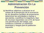 administraci n en la prevenci n