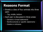 reasons format49