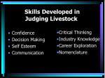 skills developed in judging livestock